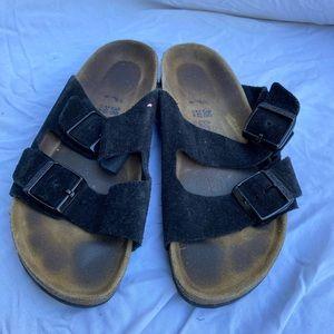 Black Birkenstock leather sandals 7 Arizona suede